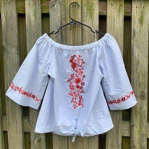 Francesca's Embroidered Off the Shoulder Denim Top